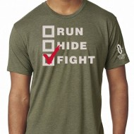 VICTORY FIRST/VICTORY WEAR MEN'S RUN, HIDE, FIGHT! T-SHIRTS  Run, Hide, Fight! TShirt Military Green